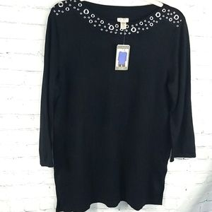 Nwt Spense long sleeve knit Top sweater black XL